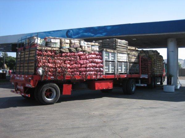 LKWs auf der Panamerika (Tankstelle)